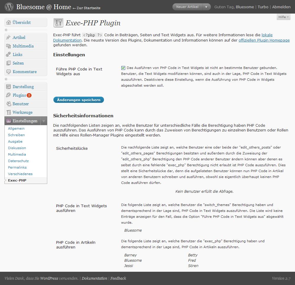 Das Exec-PHP Konfigurationsmenu