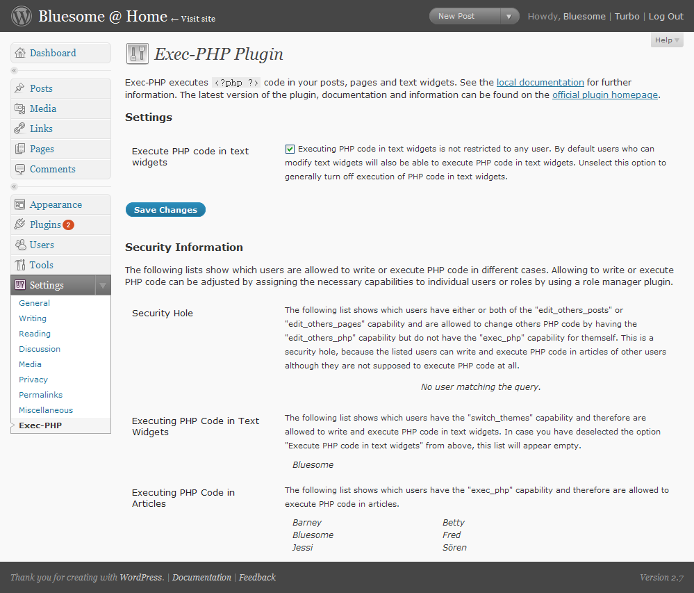 The Exec-PHP configuration menu
